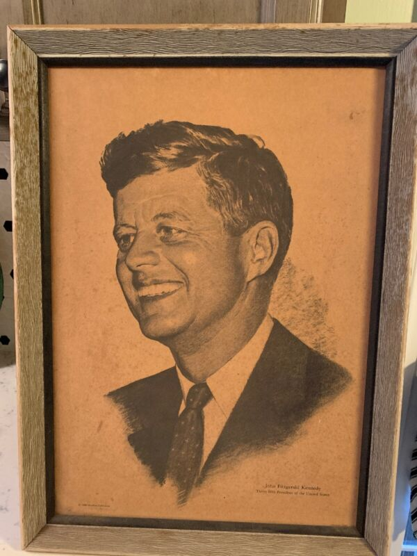 RARE 1960 HURMUR PUBLISHER FRAMED PRESIDENT JOHN F. KENNEDY 15 X 21 VINTAGE NICE