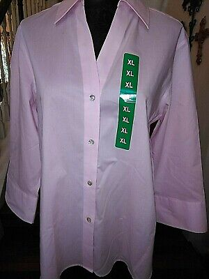 Foxcroft NYC Blouse/Top Pink Poplin Non-Iron Stretch Career Cotton Size XL