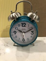 Sharp SPC851 Twin Bell Alarm Clock Teal 8 back light touch activated
