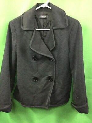8851) TALBOTS sz 6 cotton silk blazer jacket textured black fitted