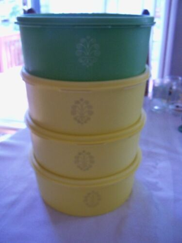 TUPPERWARE Servalier 8 Cup Stacking Canister Set 4 YELLOW~GREEN~ #1204 VINTAGE