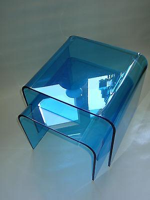 Stylisches Tischset-2er Set-blaues Plexi-/Acrylglas-70er Jahre Design