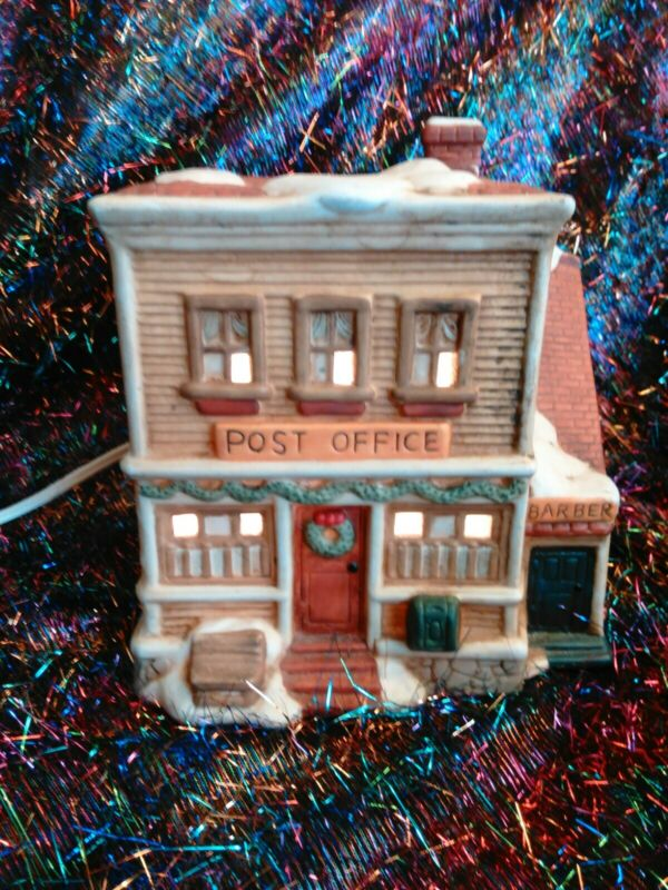 Porcelain Village Post Office Barber Shop Christmas  Fast Free Shipping