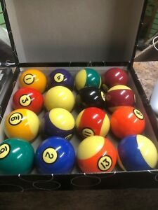 "Pool boston balls 2 1/4"" full set used"