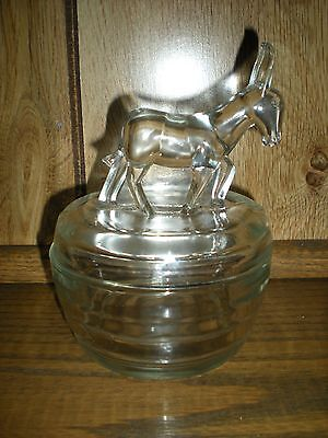Vintage Clear Glass Donkey Cover Powder Dish Bowl Lid