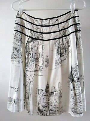 DKNY City Skirt White Black Details City Design Pleated Size 4