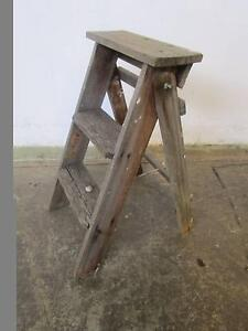 D20073 Small Vintage Rustic Timber Step Ladder Mount Barker Mount Barker Area Preview