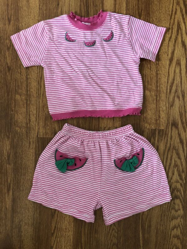 Vintage 90s 00s Girls 3T 2 Piece Striped Pink white shirt shorts summer Set