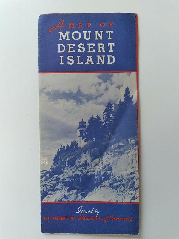1938 Map Of Mt Desert Island Acadia National Park Maine