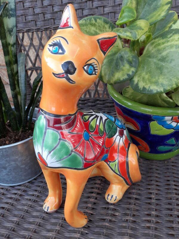 "Mexican Talavera Art Yard Pottery Graceful Cat Posing 10.25"" Tall"