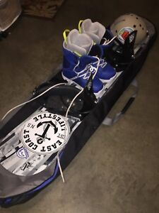 burton snowboard with helmet and boots!