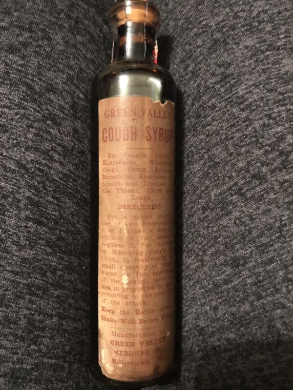 1890-1020s Bottle Of Cough Syrup Unused And Sealed