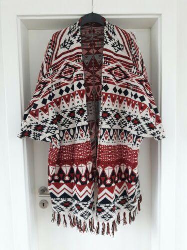 H&M Damen Poncho M 38/40 schwarz rot weiß Cardigan Fransen Hippie Indian Trend