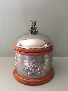 Pewter and wood music box