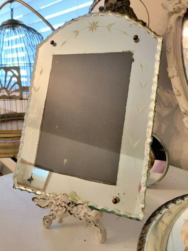 PARIS APT~ 1920s Antique Arched Top Pie Crust Glass Etched Mirror Picture Frame