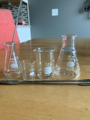 Chemistry Items Flask Beaker Spatulas Glass Stirring Rod Set Pyrex Made In Usa