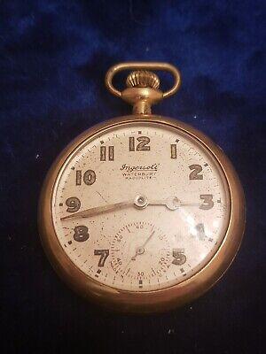 Antique ROBERT H. Ingersoll & Bro Waterbury Radiolite Unique pocket watch