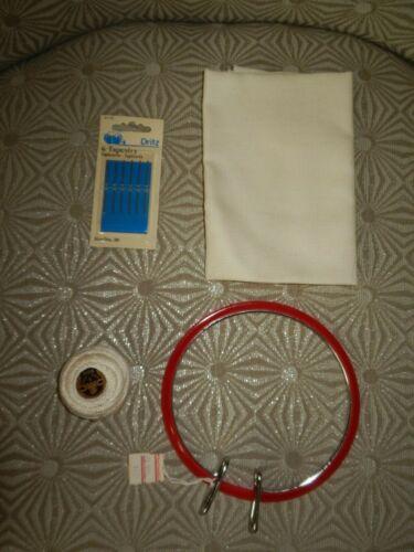 "LOT of 4-OSLO Ecru 22 Count 12 X 18-Ball #5 Perle Cotton, Needles-5"" Spring Hoop"