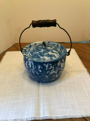 Blue Swirl Granite Ware Kettle, Handle and Lid