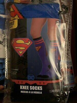 Supergirl Knee High Socks (New DC Comics Adult Supergirl SuperMan Knee Socks w/)