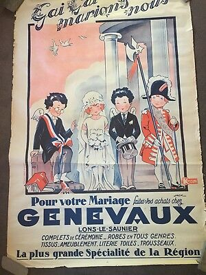 Original Vntage Charming French Marriage Fashion Poster1920s