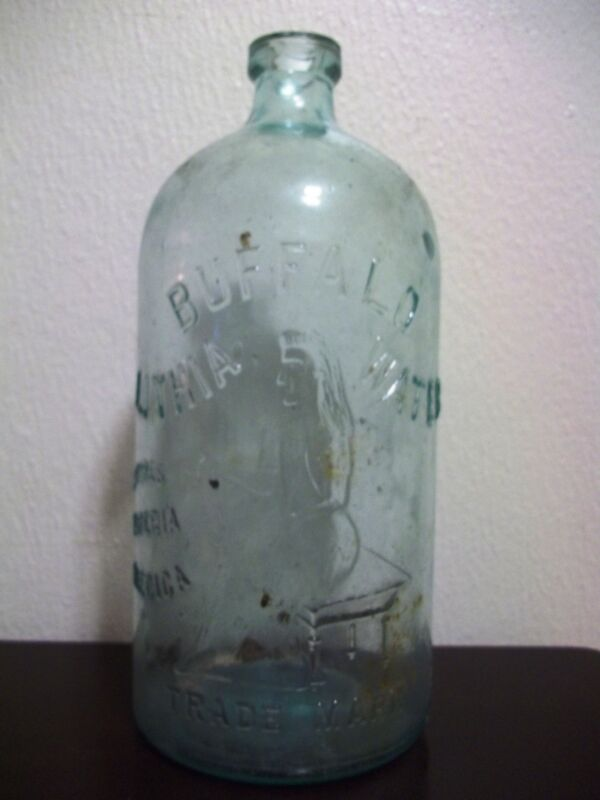 Antique Embossed Glass Bottle Buffalo Lithia Water RARE