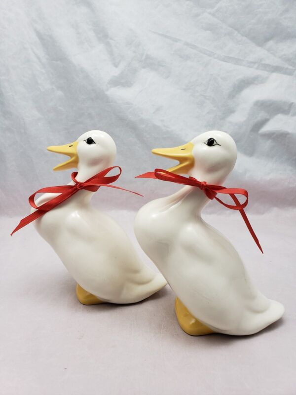 2 Ceramic Duck Figurines White with Yellow Bills Easter Decor