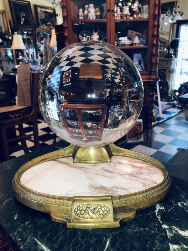Antique Bronze Marble Crystal Ball Oracle Paranormal