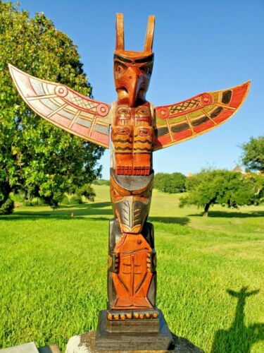 """HANDCARVED WOOD 20"""" X 4 INCH TOTEM POLE FISH DESIGN WITH DETACHABLE WINGS"""