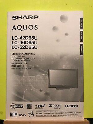 Sharp Aquos LC-42D65U, LC-46D65U, LC-52D65U Liquid Crystal TV Operation Manual - Sharp Aquos 65