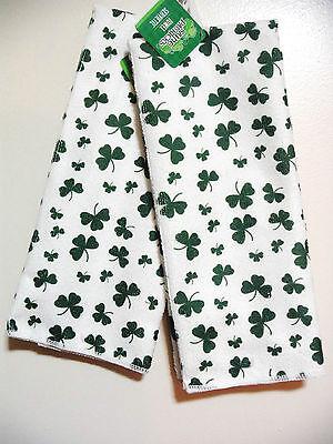 ST PATRICKS DAY PAIR OF HAND KITCHEN TOWELS FESTIVE TOWELS HOME DECOR IRISH PUB.