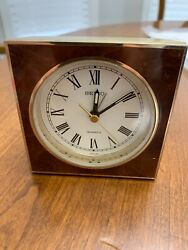Seiko Vintage Square Quartz Desk Alarm Clock Gold Brass with Face trim. Perfect