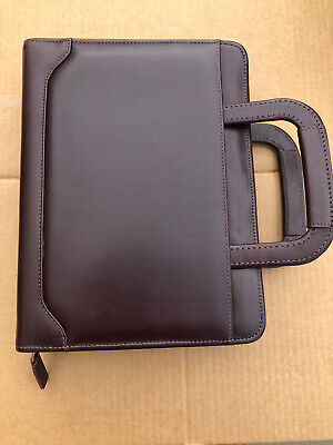 Franklin Covey Quest 7 Ring Planner Burgundy Aniline Leather With Handles Used