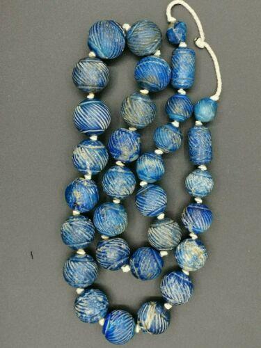 wonderful old l lapiz lazuli stone beads string necklace