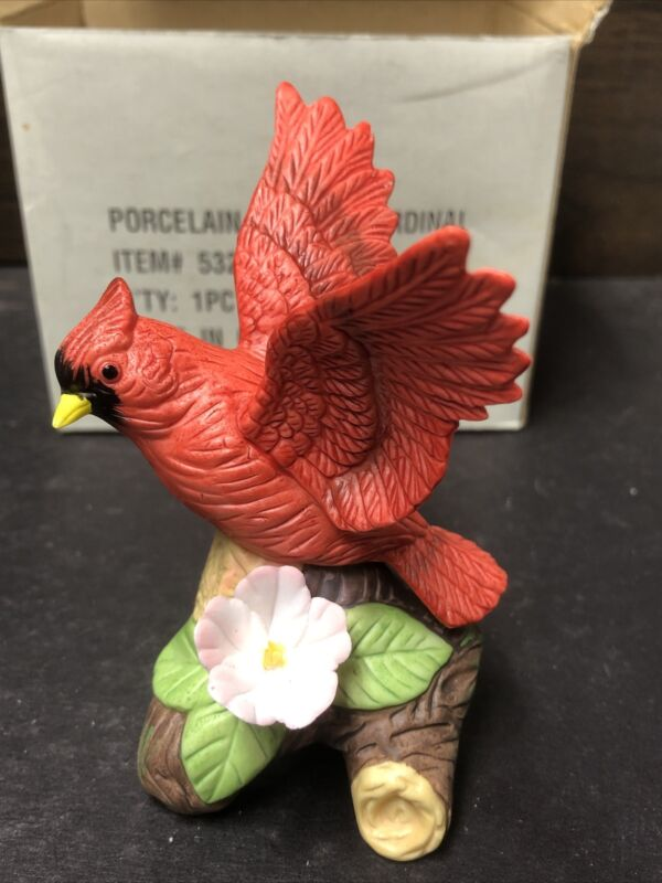 Vtg Bisque Porcelain Cardinal Figurine Original Package Hand Painted (SKU#B346)