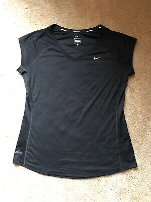 Womens Nike Running Shirt Size L Short Sleeve Black EUC
