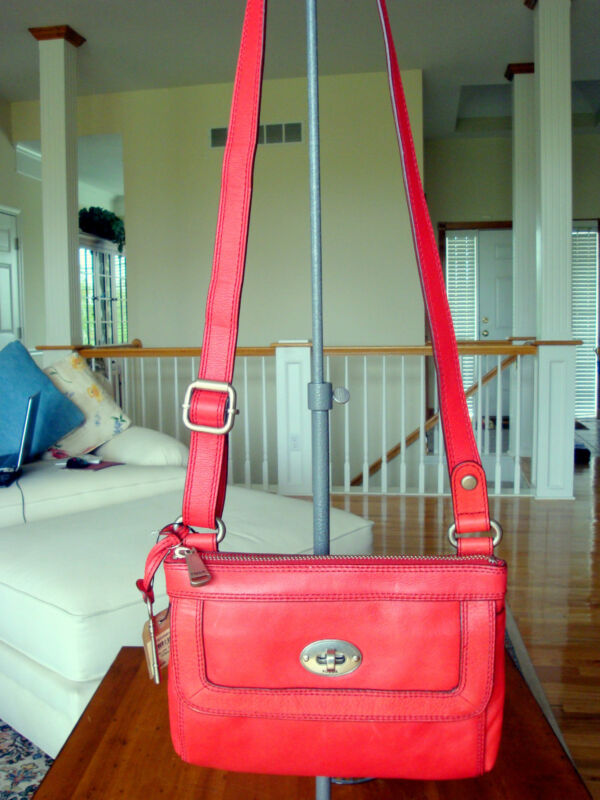 Fossil Leather Marlow Top Zip w/Front Flap Pocket & Adj. Strap Tomato  NWT $148