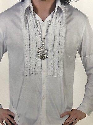 Brand NEW Men's Ruffle Disco Shirt White by Funny Fashion Costume-S/M/L