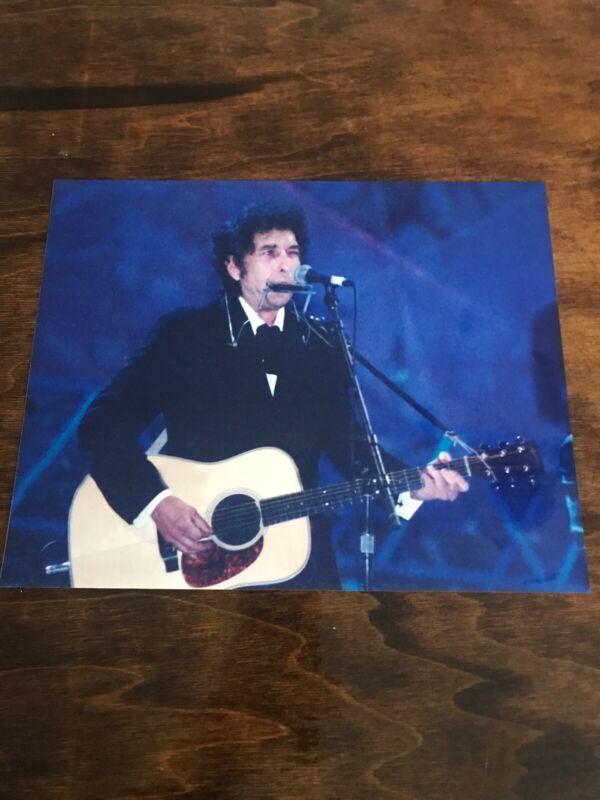 Vintage Bob Dylan 8x10 Glossy Photo Playing Guitar & Harmonica