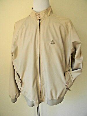 Izod LaCoste Mens Jacket Harrington XL Beige Plaid Lined Full Zip Vintage