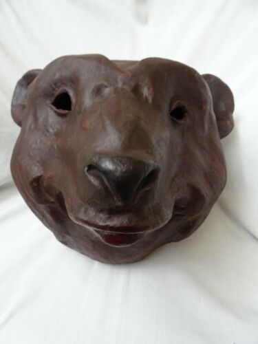 Antique Paper Mache Bear Head Theatre Costume Large Size 19th century