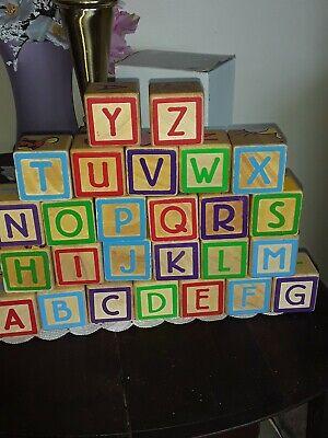36 Vintage Wooden Mixed Children's Building Blocks~