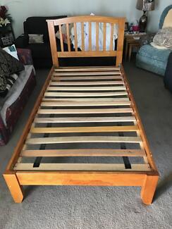 Timber King Single Bed Frame, Bedside Table, Mattress + more