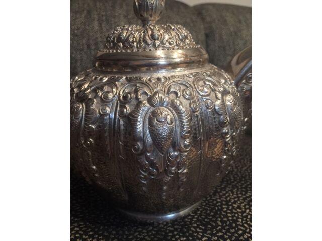 Yogya 800 Silver Southeast Asian Lotus Repousse 4 Piece Tea Set 82toz