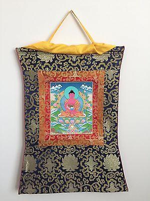 Elegant Medicine Buddha Tibetan Thangka Painting with Silk Brocade
