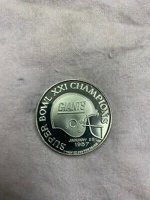Super Bowl XXI Championship Commemortive 1oz Silver Coin Super Bowl Xxi