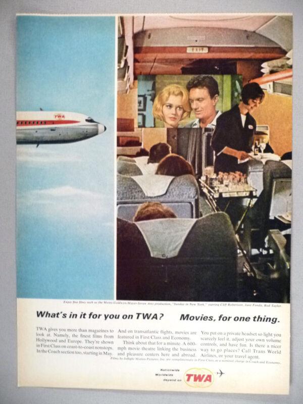 TWA Trans World Airline PRINT AD - 1964 ~~ stewardess, in-flight movies