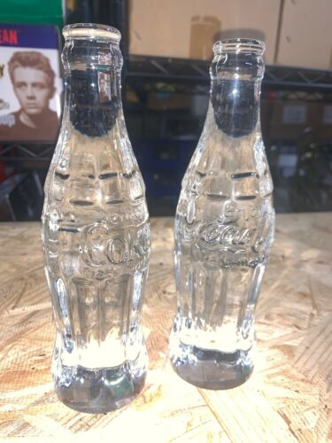 TWO SOLID CRYSTAL 24% LEAD COCA-COLA BOTTLES Kristaluxus 24% lead NICE
