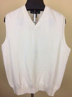 Brooks Brothers Men's Golf Sweater Vest 100% Cotton Size Large Creme White