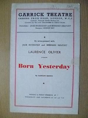 Garrick Theatre Programme 1947- L Olivier's BORN YESTERDAY by G Kanin